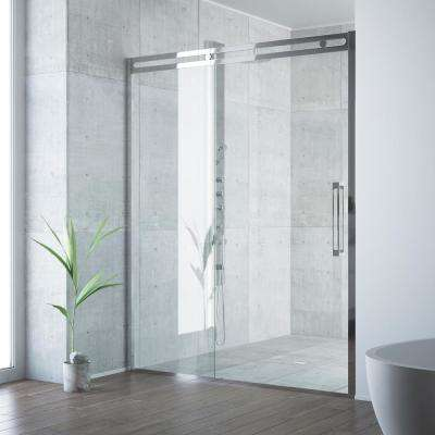 Erie 59-1/2 to 60-1/2 in. x 73.5 in. Framed Sliding Shower Door in Chrome with Clear Glass and Handle