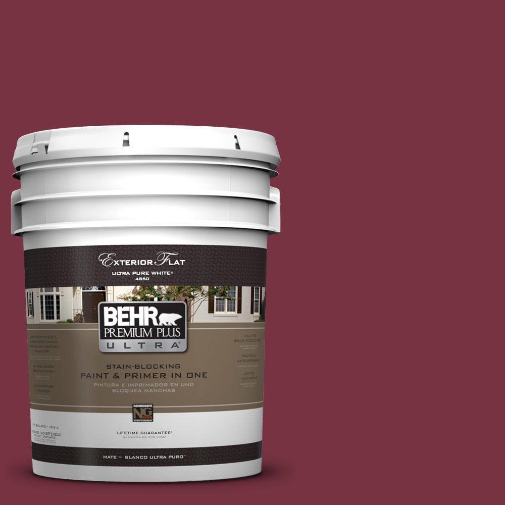 BEHR Premium Plus Ultra 5-gal. #UL100-4 Cranberry Flat Exterior Paint