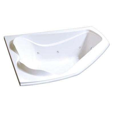 Cocoon 5 ft. Acrylic End Drain Corner Drop-in Whirlpool Bathtub with Hydrosens in White