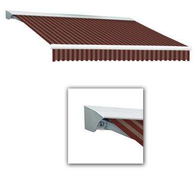 8 ft. Destin-LX with Hood Right Motor/Remote Retractable Awning (84 in. Projection) in Burgundy/Tan