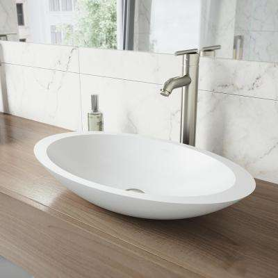 Wisteria Matte Stone Vessel Sink in White with Seville Vessel Faucet in Brushed Nickel