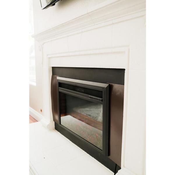 XBrand 6.73 in. W Electric Insert Fireplace Heater with Remote Control and LED Flame Effect in Black