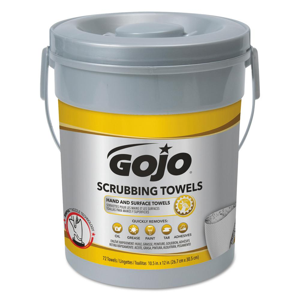 10.5 in. x 12.25 in. Silver/Yellow Scrubbing Towels Hand Cleaning (72/Canister,