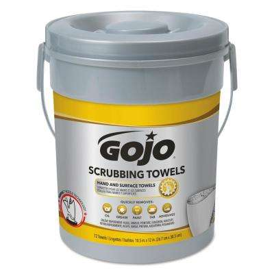 Scrubbing Towels Hand Cleaning Silver/Yellow 10 1/2 x 12 (72 Sheets per Bucket, 6 Buckets per Carton)