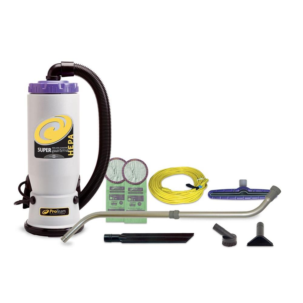 ProTeam Super QuarterVac HEPA 6 Qt Backpack Vac With Xover Multi Surface Telescoping Wand