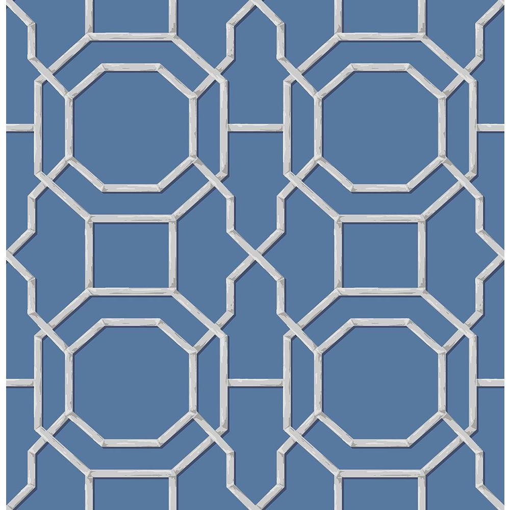 Summer Sapphire Trellis Wallpaper Sample