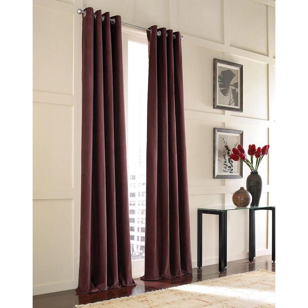 Curtainworks Sheer Messina Crimson Velvet Grommet Curtain-DISCONTINUED