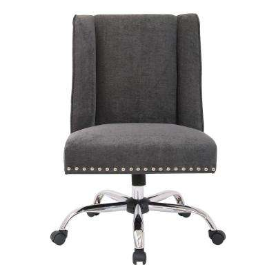 Alyson Managers Chair in Charcoal Fabric with Silver nail heads and Chrome Base