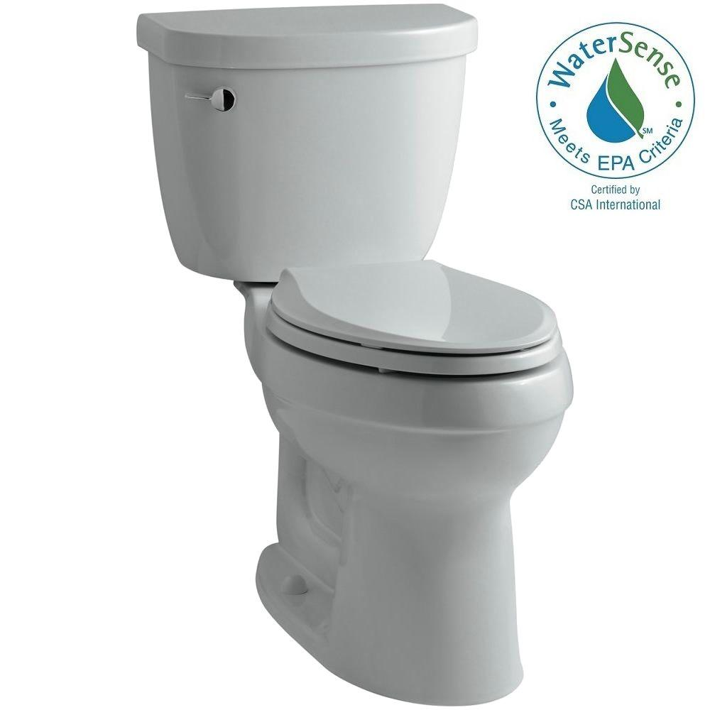KOHLER Cimarron 2-piece 1.28 GPF High Efficiency Elongated Toilet with AquaPiston Flushing Technology in Ice Gray
