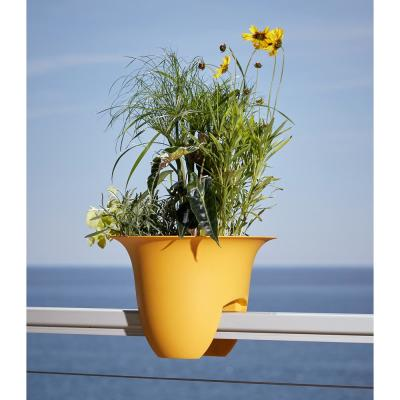 Modica 12 in. x 8.75 in. Earthy Yellow Plastic Deck Rail Planter