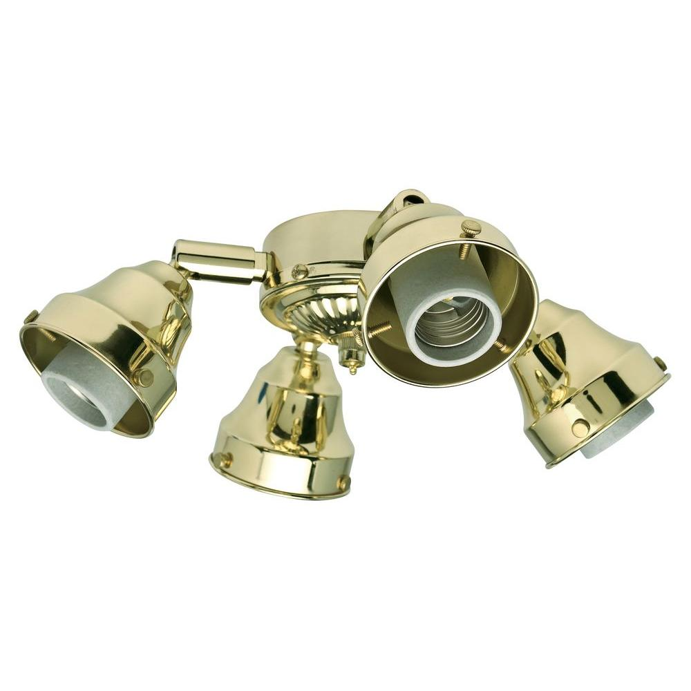 Casablanca 4-Light Bright Brass Swivel Thumbscrew Fitter Ceiling Fan Light Kit-DISCONTINUED