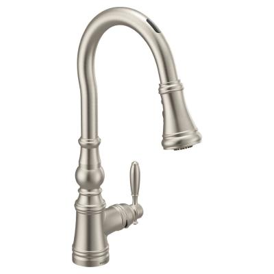 U by Moen Weymouth Single-Handle Pull-Down Sprayer Smart Kitchen Faucet with Voice Control in Spot Resist Stainless