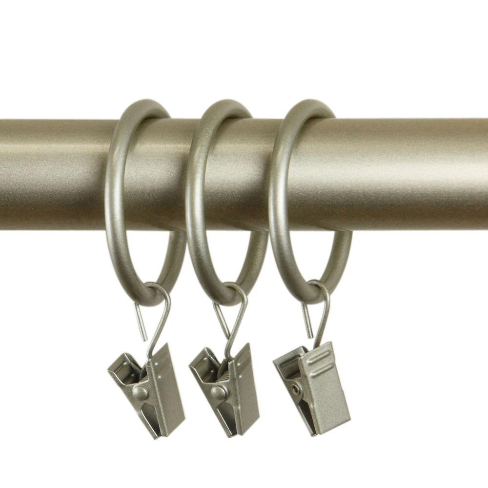 Rod Desyne Decorative 1-3/8 in. Rings with Clips in Light Gold (Set of 10)