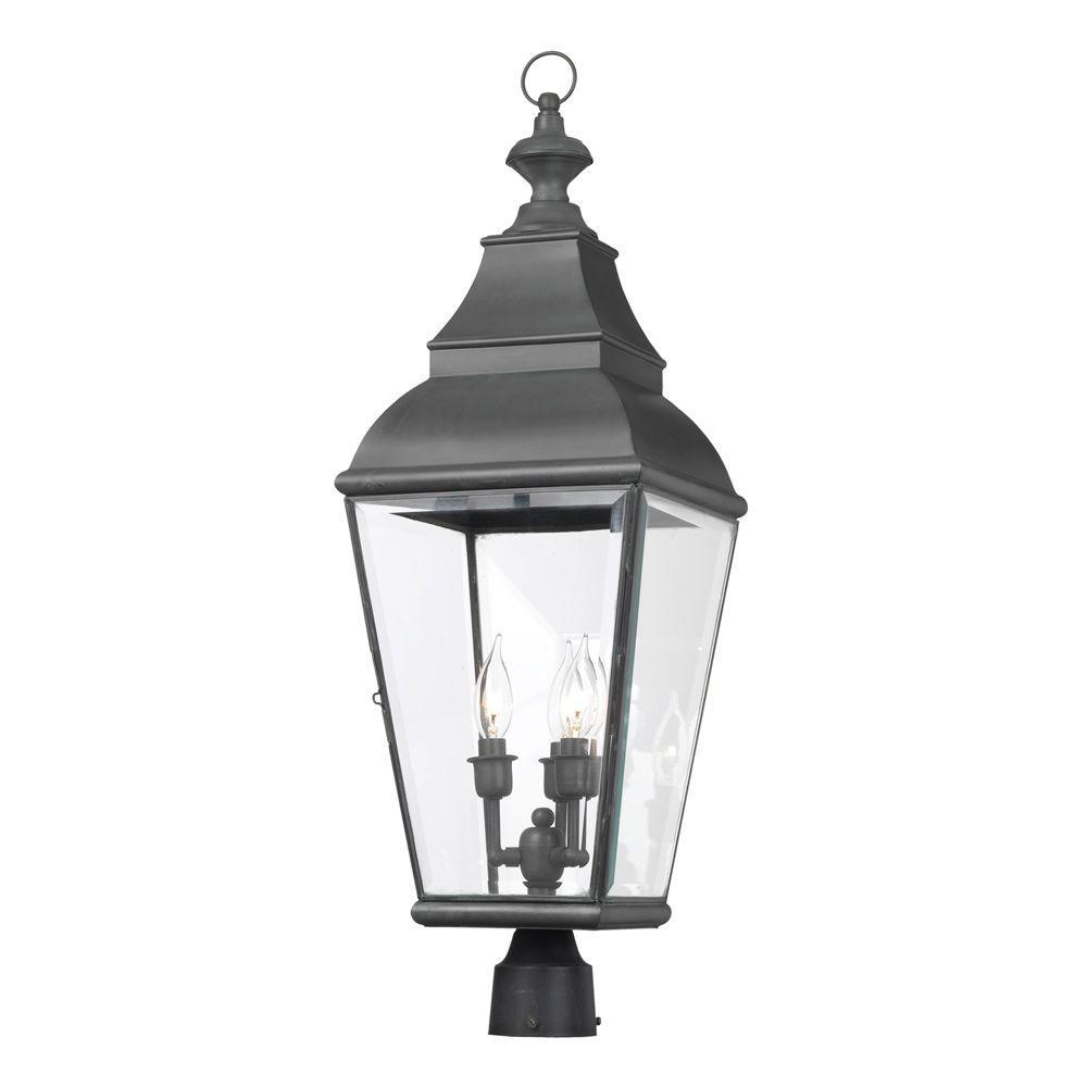 Elk Lighting Bristol: Titan Lighting Bristol 3-Light Outdoor Charcoal Post Light
