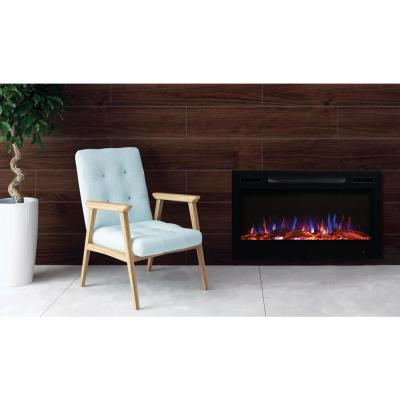 36 in. LED Wall-Mounted or Recessed Electric Fireplace with Log Wood Effect in Black