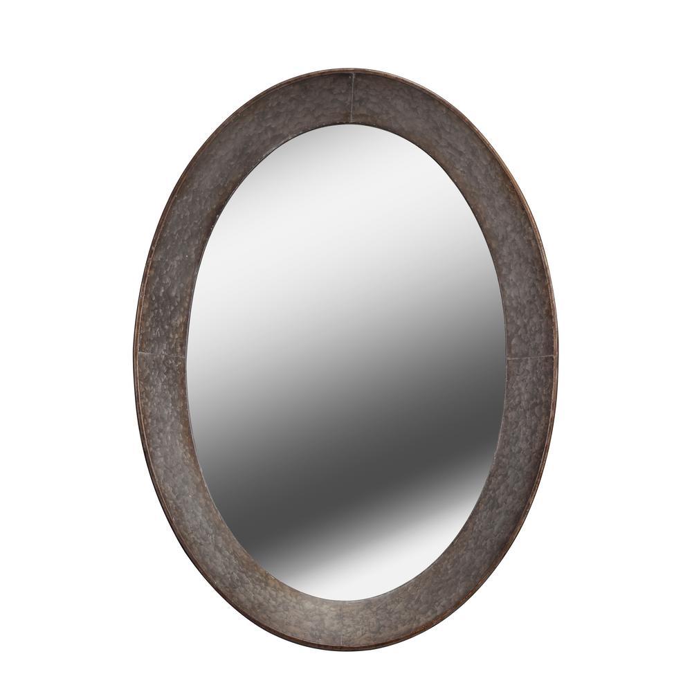 Medium Oval Gray Casual Mirror (37 in. H x 27 in. W)