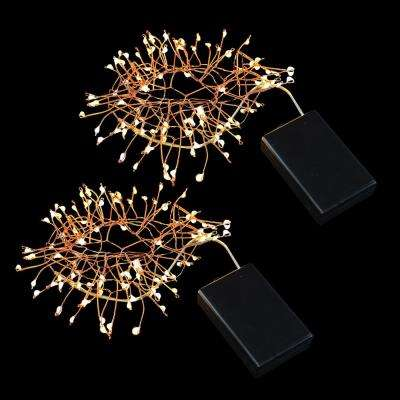 100-Light Bulb LED Warm White Light Bulb with Copper Wire, Battery Operated Firecracker Fairy String Lights (Set of 2)