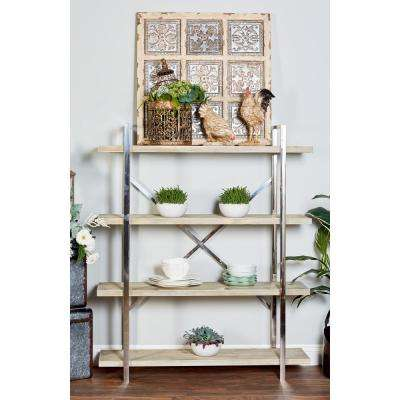 Brown 4-Tier Wooden Shelf with Silver Stainless Steel Frame