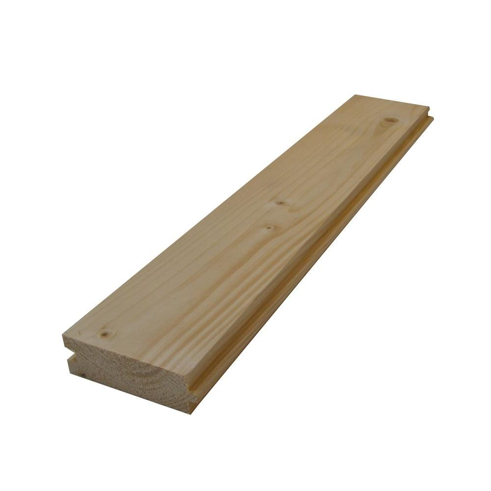 5/4 in  x 4 in  x 10 ft  Tongue and Groove Pine Decking Board