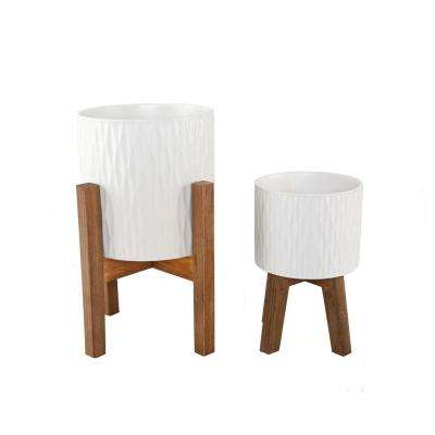10 in. and 8 in. Matte White Ridge Ceramic Planter on Wood Stand Mid-Century Planter (Set of 2 )