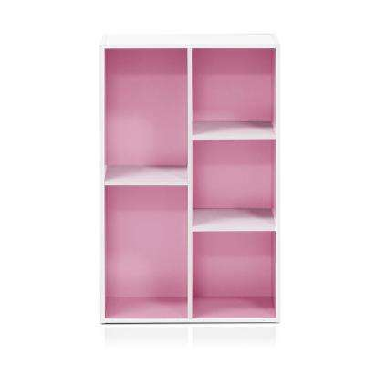 White/Pink 5-Cube Reversible Open Shelf