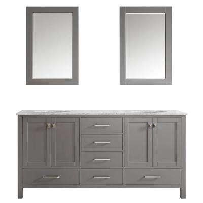 Gela 72 in. W x 22 in. D x 35 in. H Vanity in Grey with Marble Vanity Top in White with Basin and Mirror
