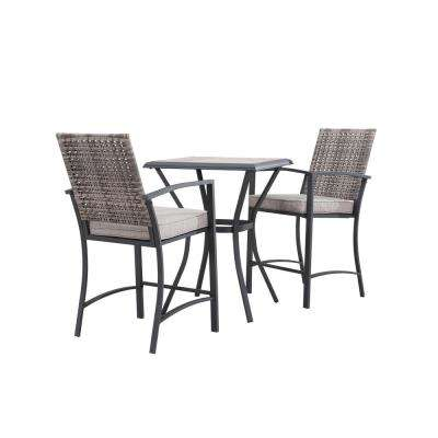 Genial 3 Piece Wicker Square Outdoor Bar Height Bistro Set With Gray Cushion
