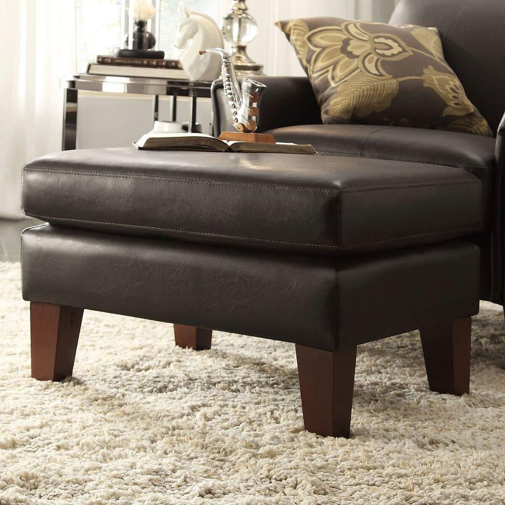 Marvelous Durham Dark Brown Faux Leather Arm Chair With Ottoman Ncnpc Chair Design For Home Ncnpcorg