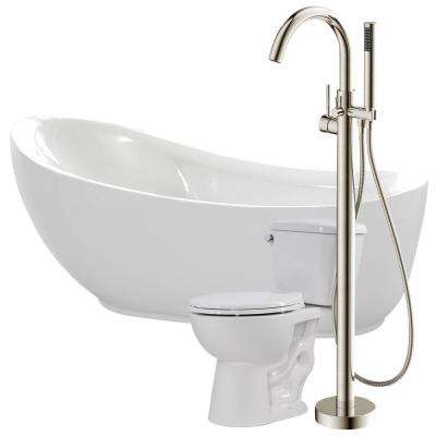 Talyah 71 in. Acrylic Flatbottom Non-Whirlpool Bathtub in White with Kros Faucet and Cavalier 1.28 GPF Toilet