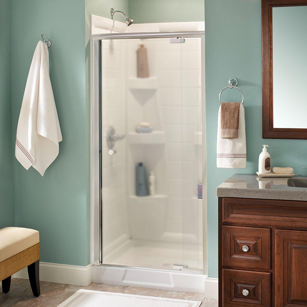Delta Lyndall 36 in. x 66 in. Semi-Frameless Pivot Shower Door in Chrome with Niebla Glass