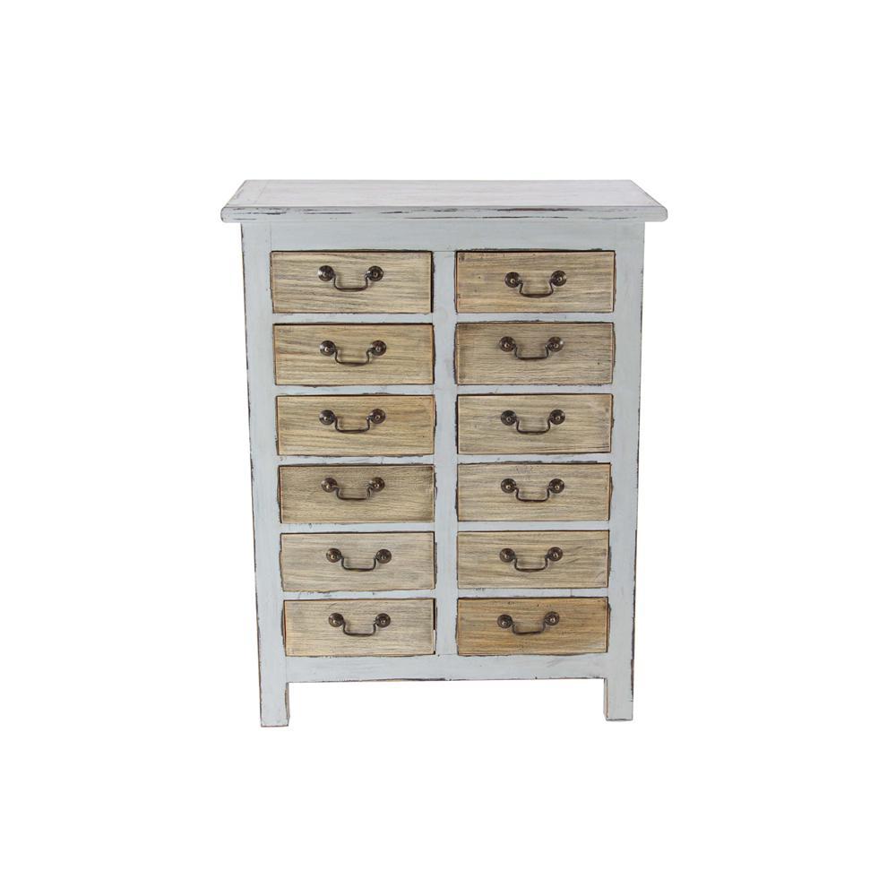 12-Drawer White Wooden Chest