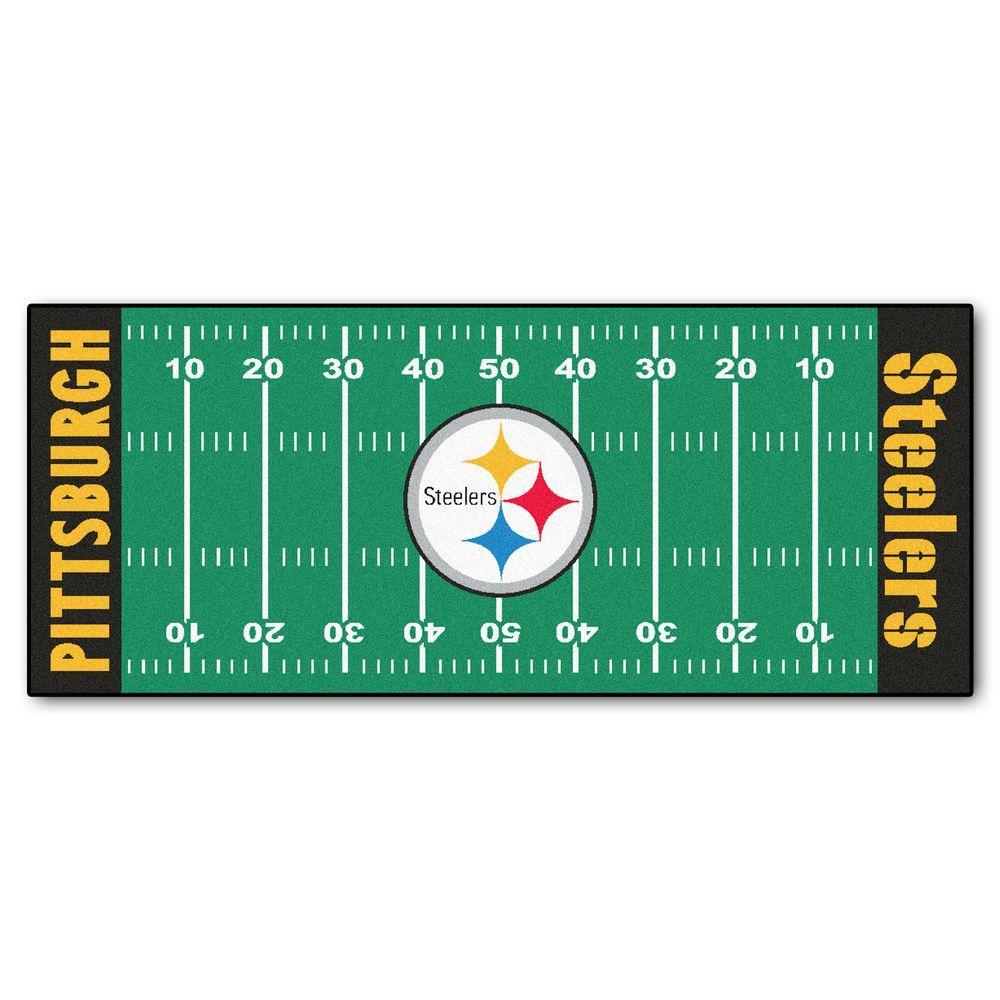NFL -Pittsburgh Steelers Green 3 ft. x 6 ft. Indoor Football Field Runner Rug