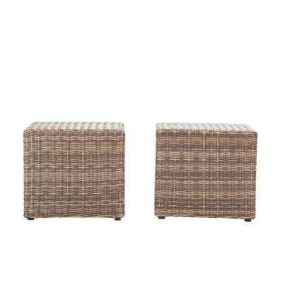 Naples Grey All-Weather Wicker Patio Coffee/Side Patio Table (Set of 2)