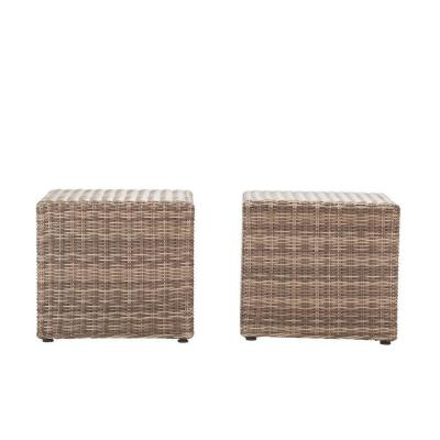 Naples Grey Square All-Weather Wicker Outdoor Coffee/Side Patio Table (Set of 2)