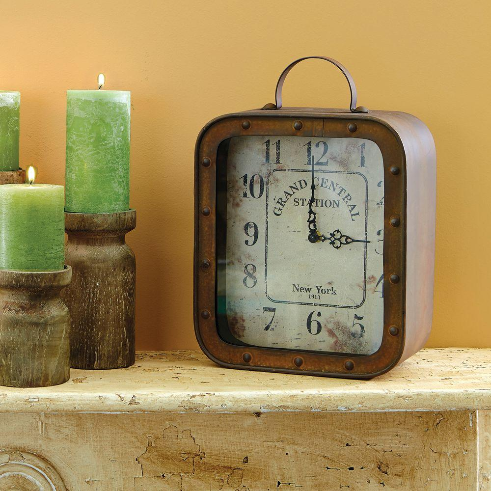 Rustic Table Clock: Stonebriar Collection 14 In. X 10 In. Metal And Glass