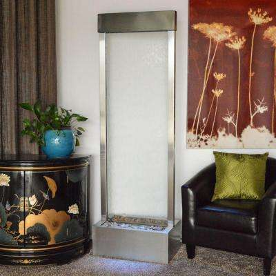 6 ft. Gardenfall Floor Fountain with Tempered Clear Glass Panel and Brushed Stainless Steel Frame