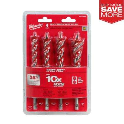 SPEED FEED Auger Wood Drilling Bit Set (4-Piece)