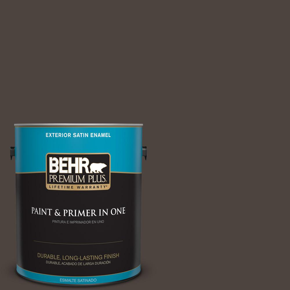 behr premium plus 1 gal ppu5 01 espresso beans satin enamel exterior paint 934001 the home depot. Black Bedroom Furniture Sets. Home Design Ideas