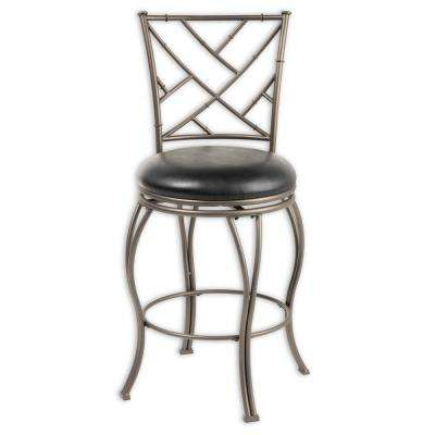30 in. Honolulu Metal Bar Stool with Black Upholstered Swivel-Seat and Coffee Metal Frame Finish