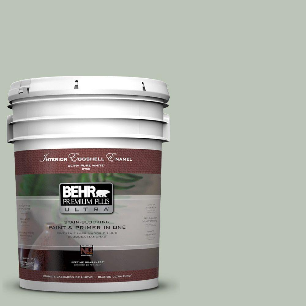 BEHR Premium Plus Ultra 5-gal. #PPU11-11 Summer Green Eggshell Enamel Interior Paint