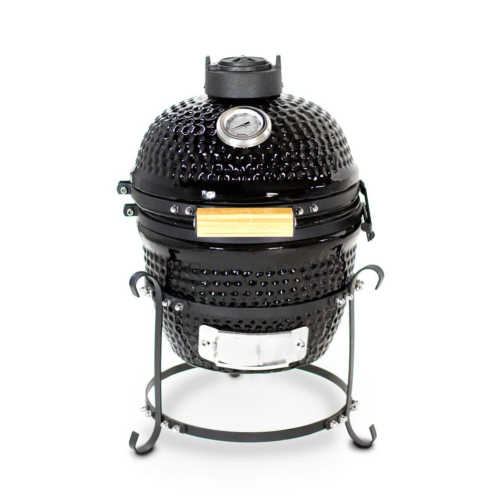 K13 Ceramic Kamado Charcoal Grill in Black