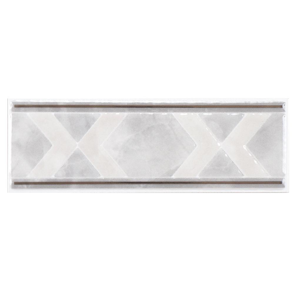 Merola Tile Gamma White Listello 2-1/2 in. x 7-3/4 in. Ceramic Wall Trim Tile