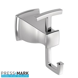 Moen Hensley Double Robe Hook with Press and Mark in Chrome by MOEN