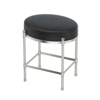 Oval Black Vanity Stool in Satin Nickel