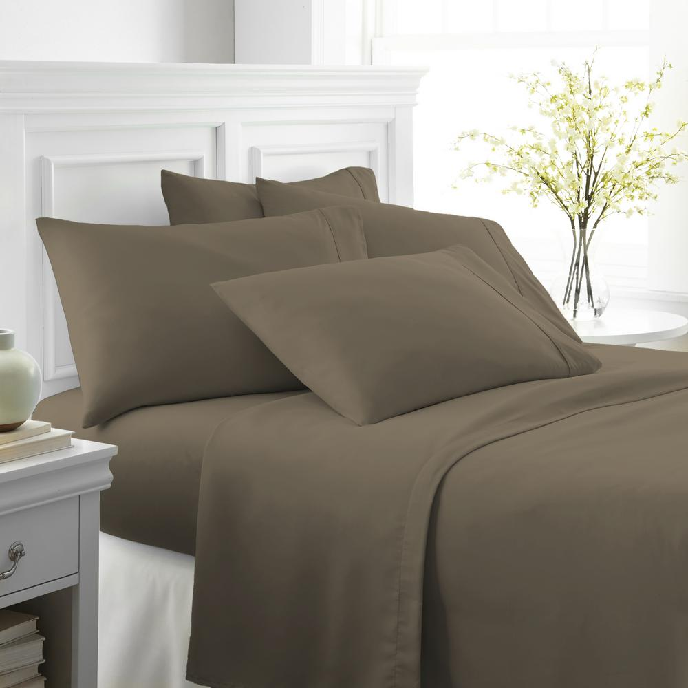 Becky Cameron Performance Taupe California King 6 Piece Bed Sheet Set