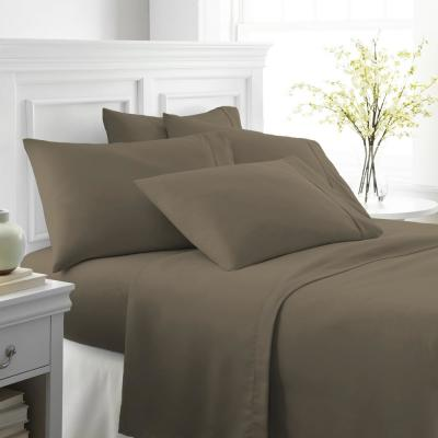 Performance Taupe Twin XL 6-Piece Bed Sheet Set