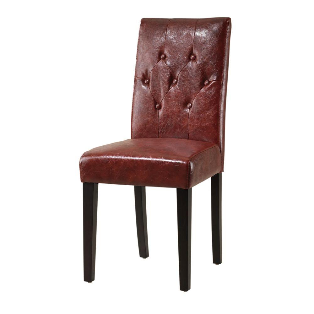 Home Decorators Collection Cooper Textured Leather Tufted Parsons Chair in Red