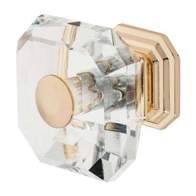 Clubhouse 1-5/16 in. Polished Gold with Clear Crystal Cabinet Knob
