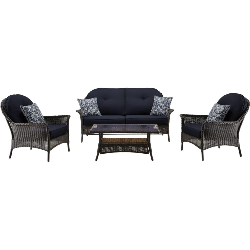 Saros 4-Piece Steel Outdoor Conversation Set with Navy Blue Cushions