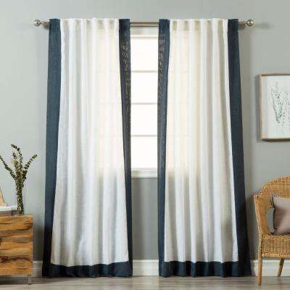 84 in. L White Linen Blend Indigo Blue Bordered Curtain Panel (2-Pack)